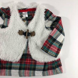 Carter's plaid shirt and faux fur vest set